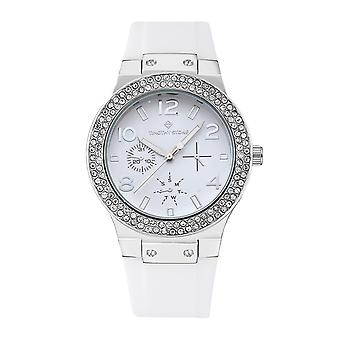 Timothy Stone Women's FA�ON-SPORT Silver-Tone and White Strap Watch