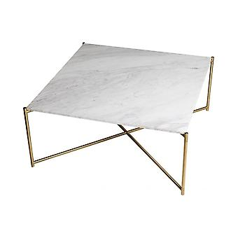 Gillmore Space White Marble Square Couchtisch mit Messing Kreuz Basis