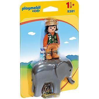 Playmobil 9381 1.2.3 Zookeeper met olifant