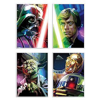 4 kunst-posters 20 x 30 cm-Star Wars veelhoeken-Liam Brazier