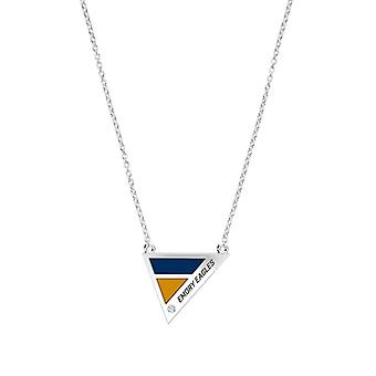 Emory University Engraved Sterling Silver Diamond Geometric In Necklace Blue and Gold