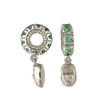 Storywheels Silver & Emerald Baby Shoe Dangle Charm S104E