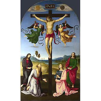 O Cristo Crucificado com a Virgem Maria, Santos, Rafael, 60x36cm