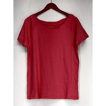 Basic Editions Top Boat Neck Short Sleeve Stretchy Pink Womens