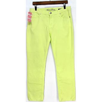 Agave Women's Classic 5-Pockets Mid-Rise Slim Jeans Light Neon Green