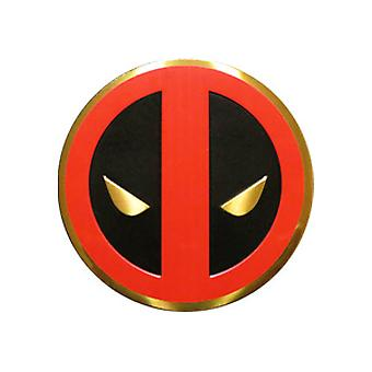 Sticker - Marvel - Deadpool - Icon on Gold Metal 5cm New Toys s-mvl-0030-m