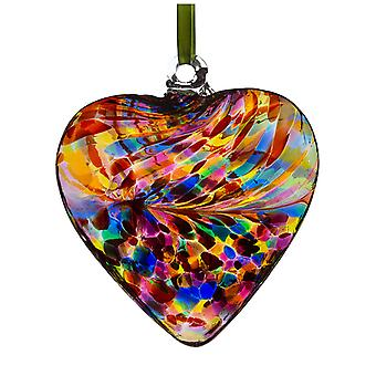 Sienna Glass 8cm Friendship Heart, Multicoloured