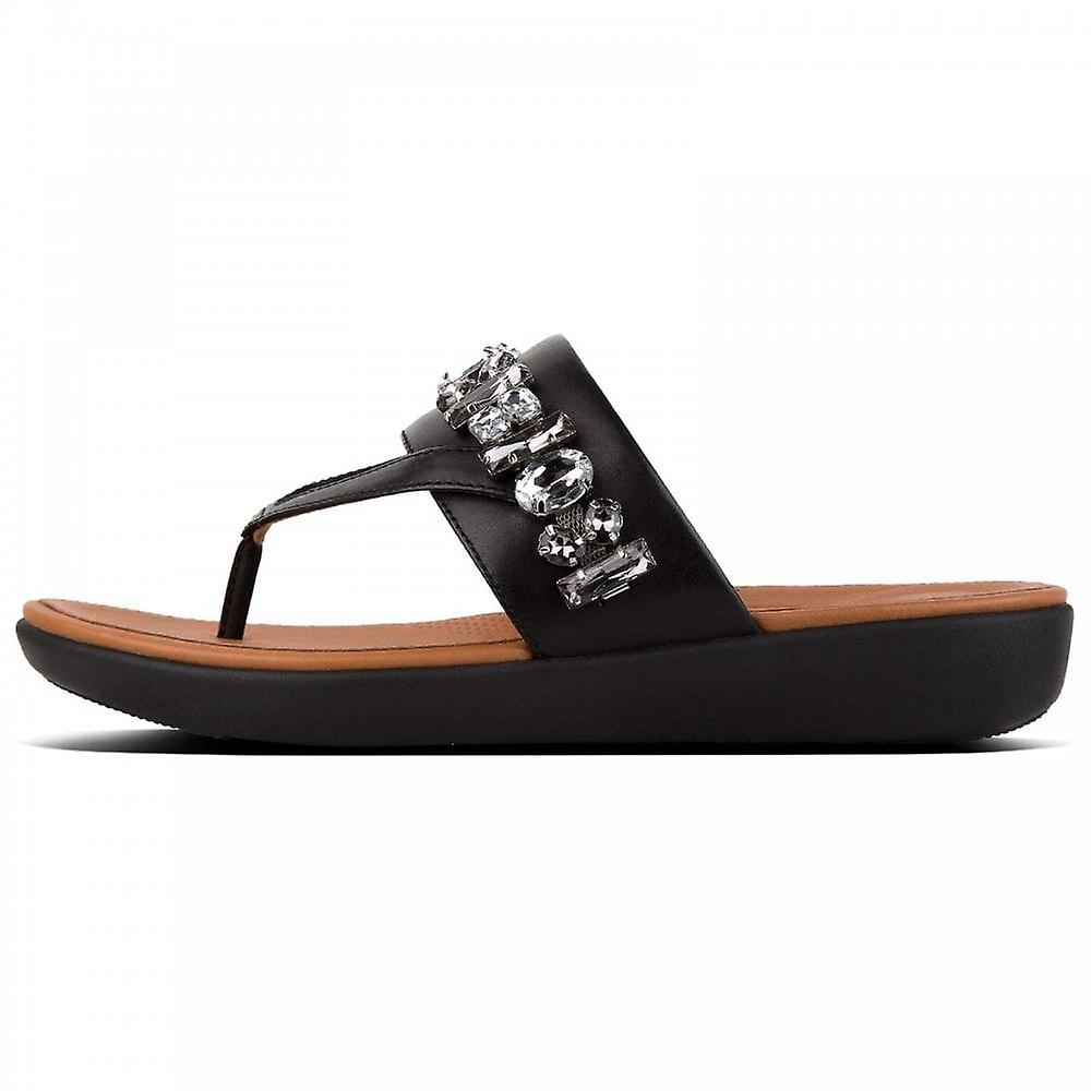 Fitflop™ Delta™ Bejewelled Leather Toe-remmer Svart