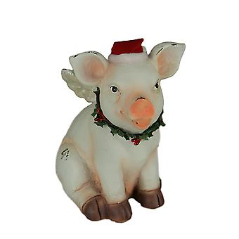 White Christmas Angel Pig Heavenly Holly Hog with Wings Statue