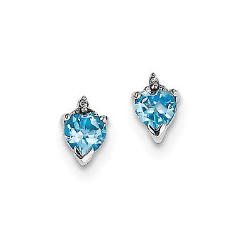 925 Sterling Silver Polished Rhodium plated Love Heart SW Blue Topaz and Diamond Post Earrings Jewelry Gifts for Women