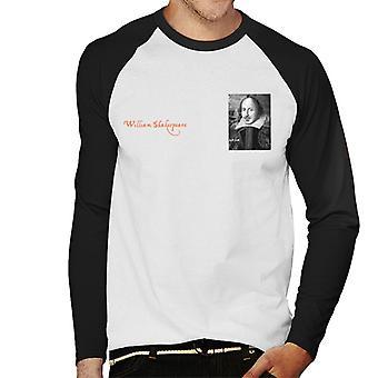 A. P. O. H William Shakespeare sort og hvid portræt mænd ' s baseball langærmet T-shirt