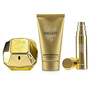 Paco Rabanne Lady Million Coffret: Eau De Parfum Spray 80ml/2.7oz + Sensual Body Lotion 75ml/2.5oz + Eau De Parfum Travel Spray 10ml/0.34oz - 3pcs