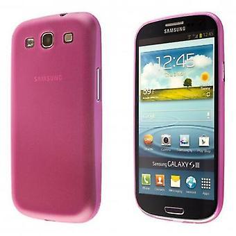 Samsung Galaxy S3 TPU Shell-transparent rosa + skjermbeskyttelse