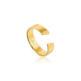 Ania Haie Silver Shiny Gold Plated Geometry Wide Adjustable Ring R005-03G