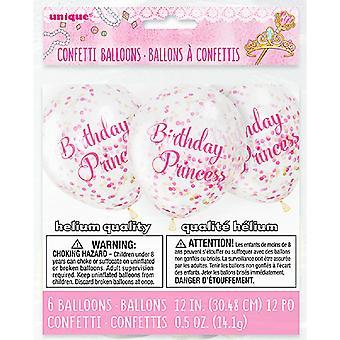 Unika partiet 6 tydliga 12 tums Birthday Princess konfetti ballonger