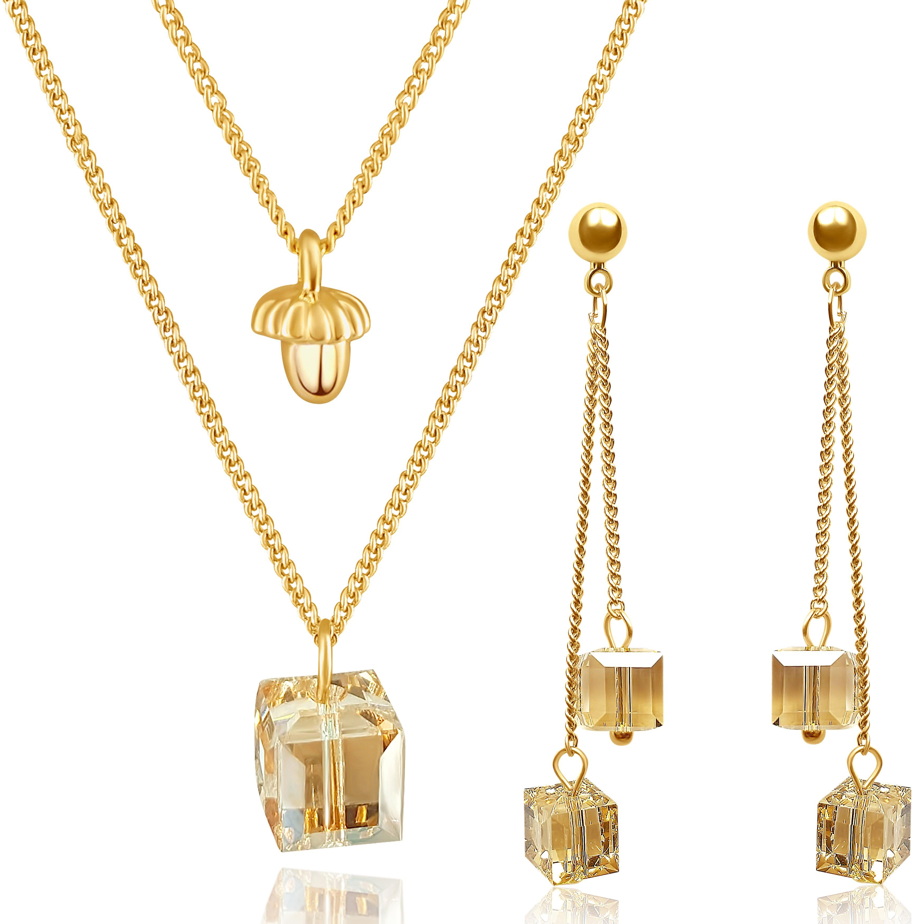 Jewellery set gold plated earrings and necklace with swarovski crystal. jewellery box. by 2splendid. enqz007