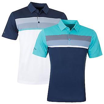 Callaway Mens Golf Birdseye Color Block Polo Shirt