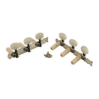 WD Music Classical Tuners Nickel Finish, White Pearl Buttons