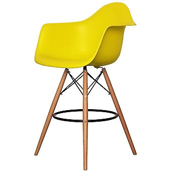Charles Eames Style Lime Green Plastic Bar Stool With Arms