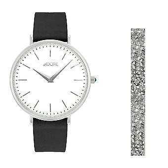 Adore By Swarovski 5459989 Holiday Signature Black Leather Watch Gift Set