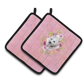 West Highland White Terrier Pink Flowers Coppia di Portapot