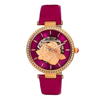 Empress Anne Automatic Semi-Skeleton Leather-Band Watch - Hot Pink