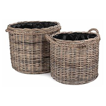 Set of 2 Rope Handled Rattan Round Planter with Plastic Lining