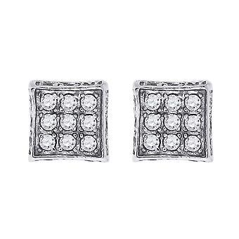"""925 מכסף סטרלינג CZ מעוקב מדומה יהלום מרובע העפיפונים 5.1 מ""""מ עגילים פתוח תכשיטים מתנות לגברים"""