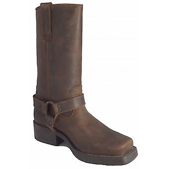 Woodland High Harley Dark Brown Leather Western Harness Boot Full Textile Lining High Leg Apx.28cm