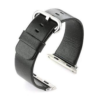 Watch strap made by w&cp to fit apple iwatch watch strap black leather 38mm and 42mm