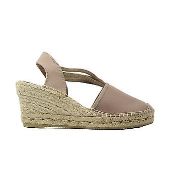La Maison De L'Espadrille 650 Taupe Fabric Womens Wedge Pull On Espadrille Shoes