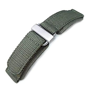 Strapcode velcro watch strap 22mm miltat honeycomb military green nylon velcro fastener watch strap with brushed stainless buckle