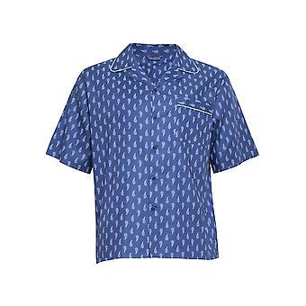 Cyberjammies 6453 Men's Billy Blue Paisley Print Cotton Woven Pyjama Top