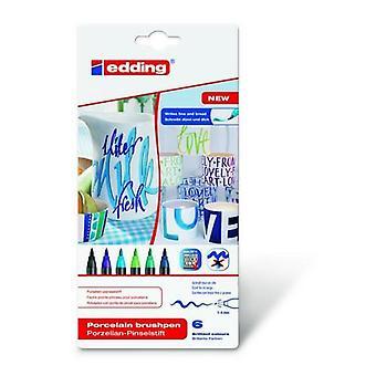 edding-4200 ass.porcelain brushpen cool 6PC 1-4 mm / 4-4200-6099