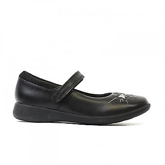 Clarks Etch Spark Toddler Black Leather Girls Rip Tape Mary Jane School Shoes