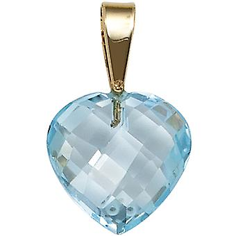 תליון נשים לב 585 זהב צהוב זהב 1 כחול טופז כחול בהיר לב תליון