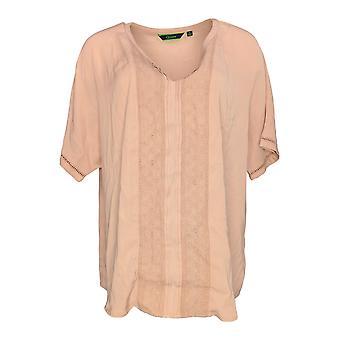 C. Wonder Women's Top Short Sleeve Split V-neck w/ Lace Detail Pink A276230
