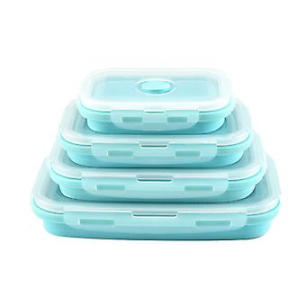 4pcs Rectangular sealed lunch box Rectangular multifunctional box Silicone folding fresh-keeping box