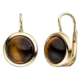 Earrings round boutons 333 Gold Yellow Gold 2 Tiger eye Brown earrings