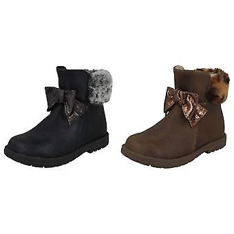 Spot On Girls Fur Collar Ankle Boots