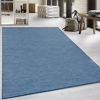 Fladt stof tæppe sisal optik indendørs udendørs køkken terrasse gangen blå