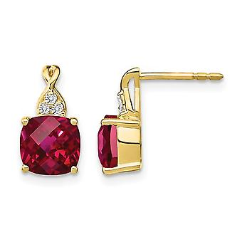 3.85 Carat (ctw) Lab Created Ruby Post Earrings in 10k Yellow Gold