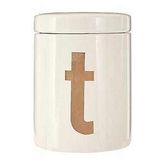 Premier Housewares Mono Tea Canister, White Gold