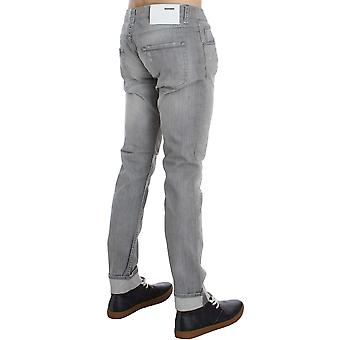 Gray Wash Denim Cotton Stretch Slim Fit Jeans SIG30472-1