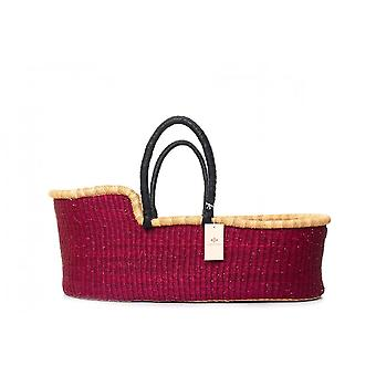 Cosy Coco Natural Handwoven Baby Moses Basket & Mattress | Solid Red