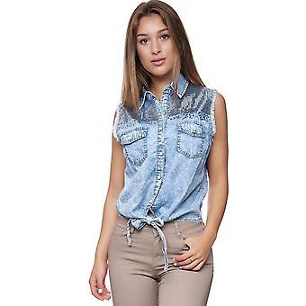 Damen Denim Jeans Bluse Luftige Ärmellose Knot Blouse Pailletten Vintage Hemd