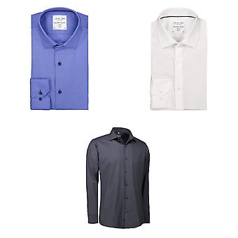 ID Mens Dobby Royal Oxford Shirt lange mouw Slim Fit