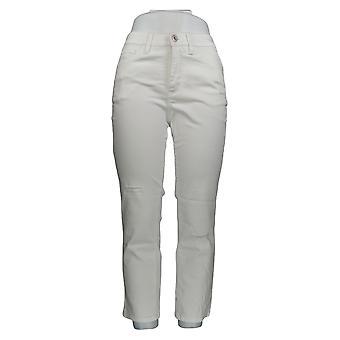 Denim & Co. Damen's Petite Jeans Classic Denim Distressesd Weiß A304477