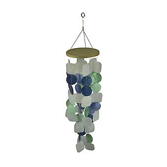 Blue Green and White Capiz Shell Mini Wind Chime Garden Patio Yard