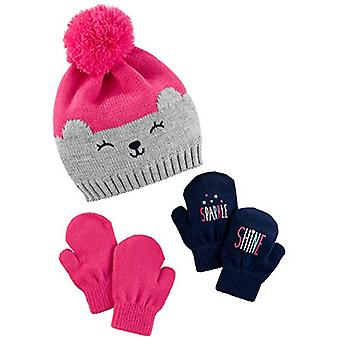 Simple Joys by Carter's Baby Girls' Toddler Hat and, Pink/Grey Bear, Size 2T-5T